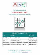 Math Clinic Tutor Schedule Spring 2018
