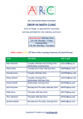 Math Clinic Tutor Schedule Spring 2019